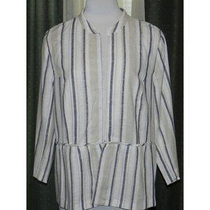 Cato striped linen blend open jacket  18W / 20W